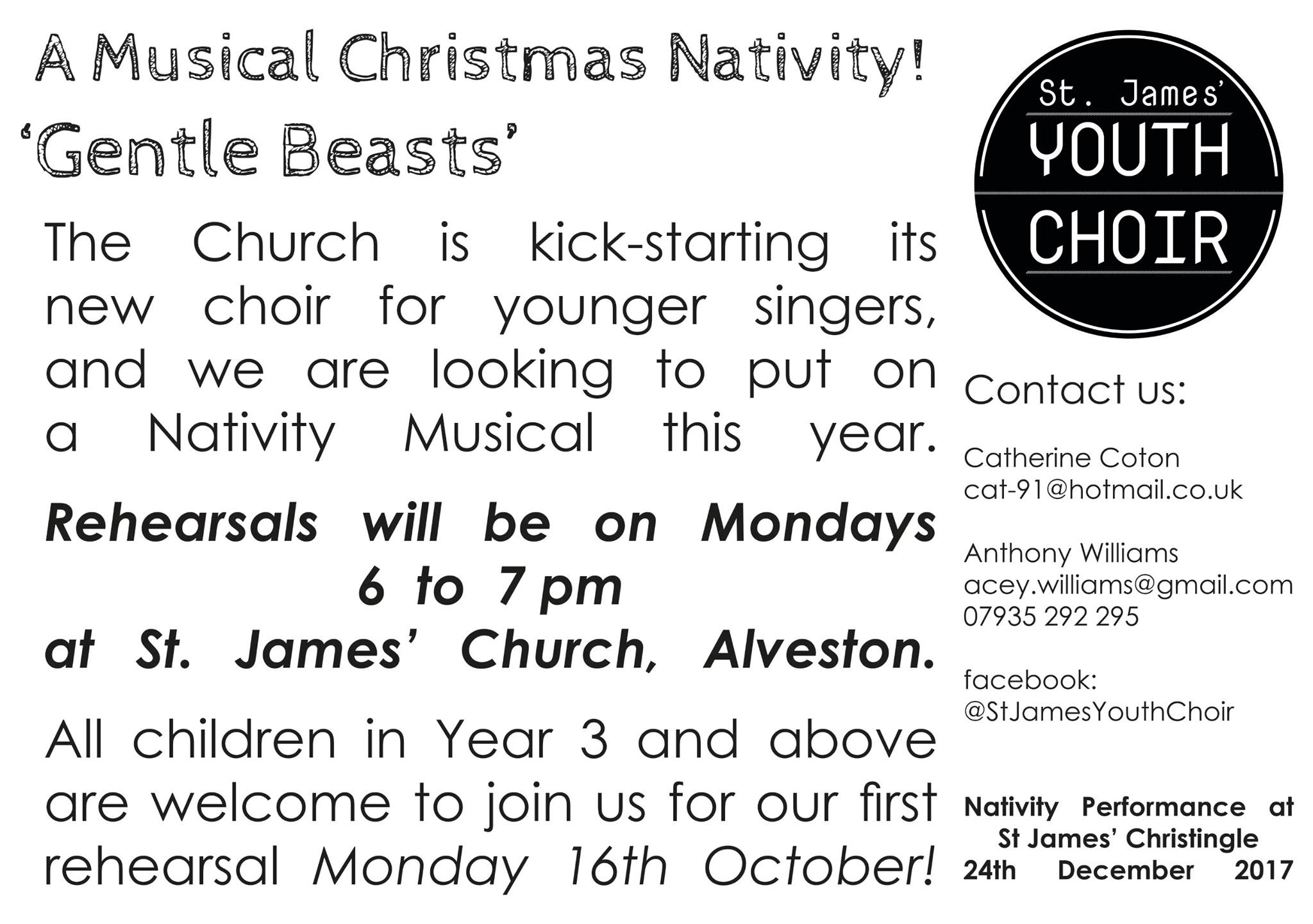 Come and join our Youth Choir - School Years 3 and above - Mondays at 6pm at St James Church Alveston